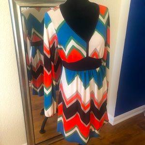 Chevron long sleeved dress